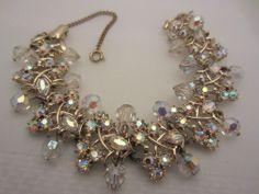 Vintage Costume Jewelry - CORO Sparkling Aurora Borealis Dangling Beads Bracelet