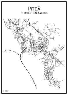 Piteå, Sverige. Karta. City print. Print. Affisch. Tavla. Tryck.