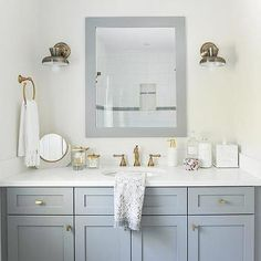 Gold and Gray Bathroom Colors - Transitional - Bathroom