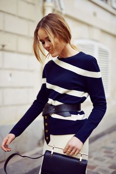 Belted striped sweat