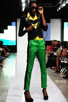 Fashion Fridays: Kingston Style x Caribbean Fashion Week 2012 Jamaica National, Jamaica Reggae, Green Pants, Kingston, Fashion Designers, Green And Gold, Caribbean, Fashion Show, Capri Pants