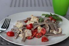 Pizzoccheri con pesce persico pomodorini ed erbette
