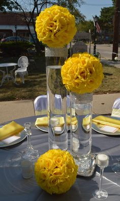 Weddings Discover Discover thousands of images about Yellow Kissing Balls Centerpiece Glass Centerpieces Wedding Centerpieces Wedding Table Flower Ball Centerpiece Yellow Centerpieces Bling Wedding Diy Wedding Dream Wedding Wedding Ideas Yellow Centerpieces, Glass Centerpieces, Wedding Centerpieces, Wedding Table, Reception Decorations, Event Decor, Table Decorations, Bling Wedding, Dream Wedding