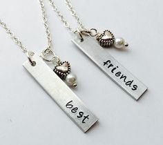 A personal favorite from my Etsy shop https://www.etsy.com/listing/239613481/best-friend-necklace-best-friends
