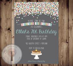 Pancakes and Pajamas Birthday Invitation, Girl Sleepover birthday invite, girl birthday invite, pancake birthday, pajama party, confetti by T3DesignsCo on Etsy https://www.etsy.com/listing/210281909/pancakes-and-pajamas-birthday-invitation