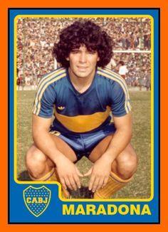 Diego Maradona of Boca Juniors in Football Stickers, Football Cards, Football Jerseys, Football Posters, Best Football Players, Soccer Players, Messi, Retro Sportswear, Diego Armando