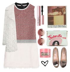 """""""Touch of pink!!!!"""" by karineminzonwilson ❤ liked on Polyvore featuring MSGM, Too Faced Cosmetics, Gucci, Charlotte Olympia, Topshop, Chiara Ferragni, Soap & Glory, women's clothing, women's fashion and women"""