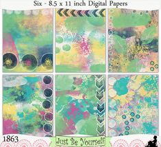 Instant Download Shabby Blue Green Yellow Pink by JustBYourself, $3.00 (1863)