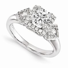 14KW VS Diamond Semi-mount Halo Engagement Ring