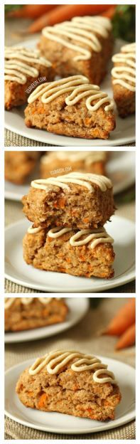 These carrot cake scones are made a little healthier with whole grains, less sugar and maple sweetened cream cheese frosting! This is a great breakfast or snack recipe