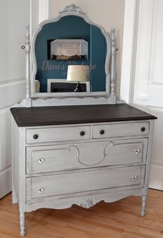 Stained top grey dresser