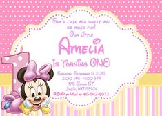 Bebé Minnie Mouse invitación cumpleaños fiesta de Minnie