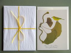 Ginkgo leaves with yellow bird and braided by FlatFlowerDesigns, $3.75