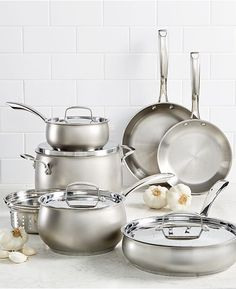 Belgique Stainless Steel Cookware Set, Created for Macy's - Cookware Sets - Macy's Cast Iron Pot, Cast Iron Cookware, Cookware Set, Casseroles, Fun Cooking, Cooking Recipes, Kitchenware, Modern, Contemporary