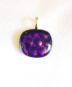 Purple pendant Dichroic fused glass Eye catching jewelrywomen accessoriesfashion jewelryart glass jewelryjewleryspiritualelegteam (23.00 USD) by LaposLewisCreations