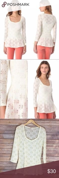 "Free People Ivory Floral Peplum Top Free People Ivory Floral Peplum Top. EUC. Measures pit to pit 18""/ length 28"" Free People Tops"
