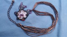 Adorable Beaded necklace, pendant necklace, multi-strand necklace, woman necklace, fish jewelry, copper jewelry,fish,purple ,Free Shipping