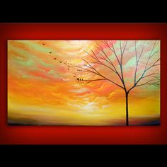 art painting abstract original painting wall art surreal large tree fantasy painting 48 x 24 x 1.5 via Etsy