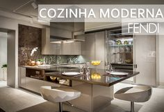 Cozinha moderna decorada na cor fendi da Fendi! Confira todos os detalhes! - DecorSalteado