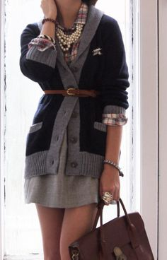Love it all!  Pearls, Plaid, Wool, Leather; need I continue???
