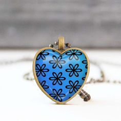 Blue heart necklace Floral heart shaped pendant necklace Photo necklace Picture necklace Bridesmaid gift Love gift for her by StudioDbronze