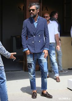 Jeans ripped men style casual blue suit preppy fashion