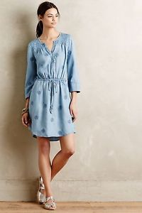 NEW Anthropologie Plumage Chambray Dress by Holding Horses sz L $158 Soft Comfy