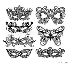 Illustration of Mardi Gras mask of lace collection set. vector art, clipart and stock vectors. Venetian Mask Tattoo, Masquerade Mask Tattoo, Masquerade Party, Mask Drawing, Doodle Art Drawing, Mardi Gras Carnival, Carnival Masks, Tattoo Pink, Masquarade Mask