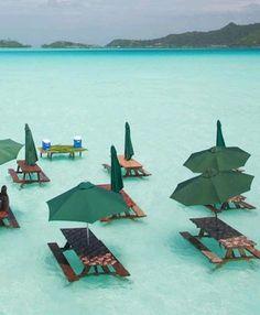 St. Regis, Bora Bora. Picnic tables in the ocean
