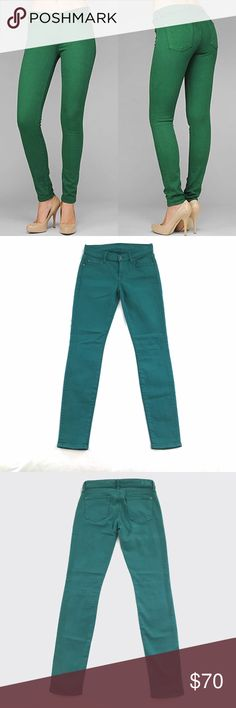 """7 For All Mankind Slim Illusion Skinny 7 For All Mankind Slim Illusion Skinny in lagoon green. Size 26, 30.5in inseam. """"Slim Illusion is our latest in denim technology that makes you feel at least one size smaller. Tighter construction and intense stretch create a sexy slim silhouette, while exclusive technology provides total shape recovery, making this the perfect fit. The Skinny is our skinniest body. It is a second skin fit with a shorter inseam."""" Never worn or washed, most of the tags…"""