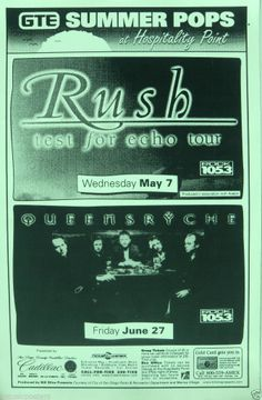 "rush concert posters | ... RUSH ""TEST FOR ECHO TOUR"" & QUEENSRYCHE 1997 SAN DIEGO CONCERT TOUR"