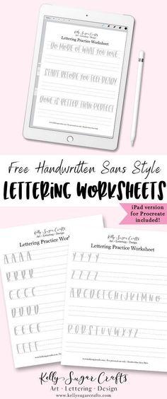 Free Sans Serif lettering worksheets  brush lettering, iPad lettering, Procreate  Kelly Sugar Crafts #letteringworksheets #ipadlettering #procreatelettering #handlettering #lettering #printable #worksheet #brushlettering #procreate