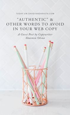 Struggling to find the right words for your website's voice? In this blog post, Copywriter Shannon Olona writes about 'Authentic' and other words to avoid in your web copy. #websitedesign #copywriting #brandingtips #webdesign #webcopy #daveyandkrista Web Design, Website Design, Website Ideas, Website Web, Do It Yourself Design, Marca Personal, Le Web, Branding, Photography Website