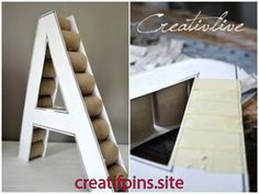 DIY Deko-Buchstabe Wie ihr vielleicht schon gemerkt habe bin ich ein großer F. DIY Deco Letter As you might have noticed, I'm a big fan of everything that has to do with letters, letters or numb Cardboard Letters, Diy Letters, Cardboard Crafts, Marquee Letters, Cheap Wedding Supplies, Wedding Supplies Wholesale, Diy Birthday Decorations, Wedding Decoration, Creation Deco