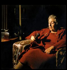 Agatha Christie using a dictaphone in the 1950's.