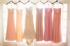 these are the EXACT dresses the girls will be in! shades of peach, champagne, and light pinks.