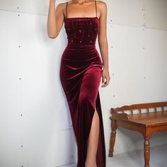 SOLD Vintage crimson velvet gown with spaghetti straps and slits on the sides. Stretchy and pull on. Excellent gently used condition. Dance Dresses, Ball Dresses, Evening Dresses, Prom Dresses, Elegant Dresses, Pretty Dresses, Beautiful Dresses, Classy Gowns, Winter Formal Dresses