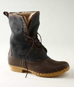 """L.L. Bean Waxed-Canvas Shearling-Lined 10"""" Maine Hunting Shoe"""