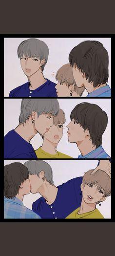 Namjin, Bts Chibi, Bad Boy Aesthetic, Aesthetic Anime, K Pop, Hoseok, Seokjin, Fanfiction, Bts Kiss