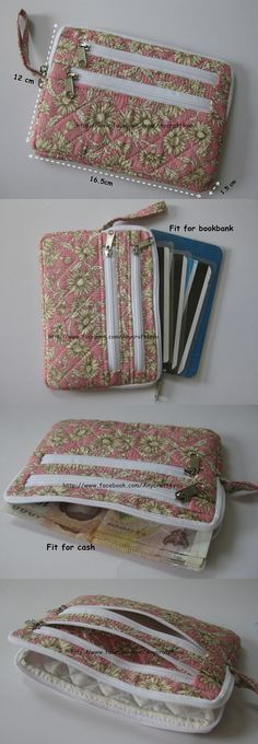 Card wallet with outside zippers Sew Wallet, Fabric Wallet, Fabric Bags, Card Wallet, Bag Patterns To Sew, Sewing Patterns, Sewing Tutorials, Sewing Crafts, Pochette Portable