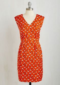 Don't Stop Retrievin' Dress. If you find yourself bursting into song because you can barely contain your love for this paprika red, pooch-printed dress, then youre not alone. #red #modcloth
