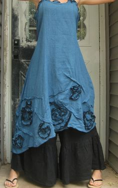 Blue Linen Swirly Slant Dress M by sarahclemensclothing on Etsy, $149.00