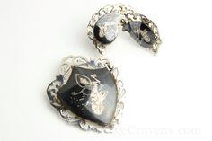 VINTAGE Siam Silver Niello Nang Fa Earrings & Brooch Set by VintageCravens