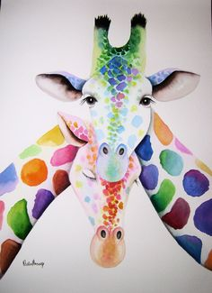 Large original watercolour GIRAFFES painting by artist by Vivaci