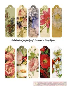 Antique Floral flaco digital Etiquetas Do series of THIN paintings