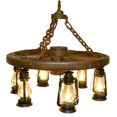 Hanging Lantern Wagon Wheel Chandelier | Western Lighting