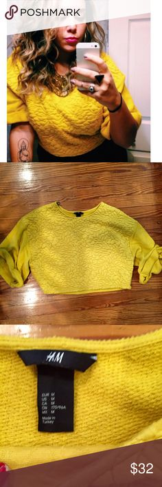 Vintage h&m Yellow Sweater Such a statement sweater. Worn once on my hubbys birthday (see photo) it's super cute... Perfect condition and not being sold in any h&m stores💖💖 H&M Sweaters Cardigans