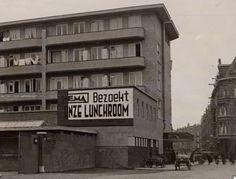 Achterkant Hema in Amsterdam-Oost 1935. Hoek Lineusstraat