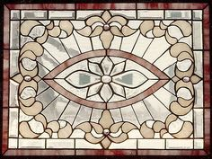Sunflower Glass Studio | Residential Windows - Stained glass window in cream and pink glass, hand beveled motif.