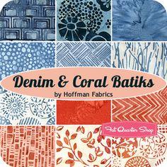 Denim & Coral Batiks Fat Quarter Bundle Hoffman Fabrics